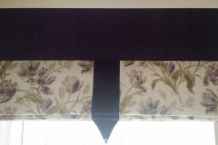 Flower Roman Blind with contrast centre trim & contrast pelmet