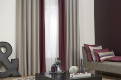 Curtains with contrast leading edge